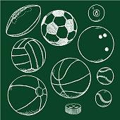 Vector Set of Chalk Sketch Sport Balls