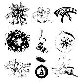 Vector set of Christmas and New Year hand drawn icons with sock, toys, bells, Santa Claus, gift, watch, wreath. Sketched Nativity elements.