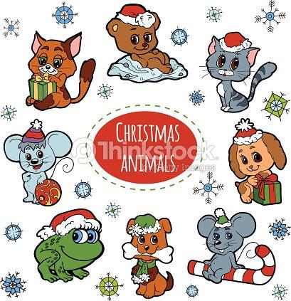 Ensemble de no l vecteur mignon animaux de dessin anim de - Noel dessin couleur ...