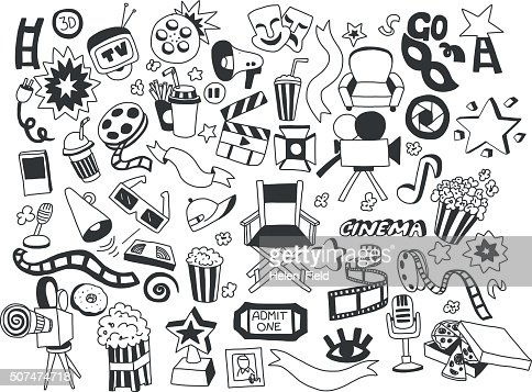 Vector set of cinema icons Hand drawn images : Vector Art