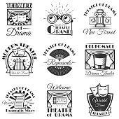 Vector set of classic theater isolated labels,  and emblems. Black and white theater symbols and design elements. Drama masks, harp, tickets, theater drapes and stage curtains.