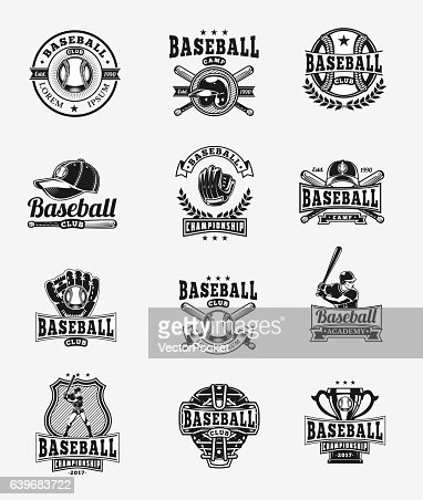 Vector set of colored baseball badges, stickers, emblems : stock vector