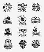 Vector set of colored baseball badges, stickers, emblems isolated on white