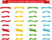 Big set of colorful ribbon banners. Vector illustration.