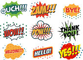 Vector set of comic speech bubbles in trendy pop art style. Hand drawn set of speech bubbles with phrases Yes, Hello, Thank you, Welcome, Wow, Bye, Zam, Ouch. Design elements in vector.