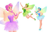Vector set of cute colorful fairies with butterfly wings in various poses. Cartoon style characters isolated on white background.