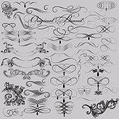 Vector set of decorative vintage elements for design