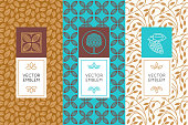 Vector set of design elements and seamless patterns for chocolate and cocoa packaging - labels and backgrounds