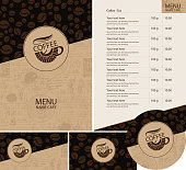 Vector set of design elements for coffee house. Menu, price list, business cards and coasters for drinks with cup of hot coffee on background with coffee beans pattern and old manuscript with doodles