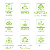 Vector set of design elements, logo design template, icons and badges for natural and organic ecological products  in trendy linear style - zero waste, recycle, sustainable, development, eco friendly,