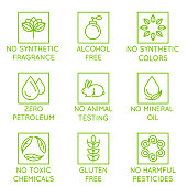 Vector set of design elements, logo design template, icons and badges for natural and organic cosmetics in trendy linear style - no synthetic fragrance and colors, no animal testing, no mineral oil, g