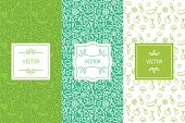 Vector set of design elements, seamless patterns and backgrounds for organic, healthy and vegan food packaging - green labels and emblems for vegetarian products, shops and websites with copy space fo
