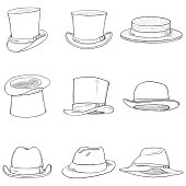 Vector Set of Different Men Hats on White Background