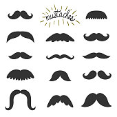 Vector set of different mustaches. All elements are isolates on white. Vintage elements. Hipster background.