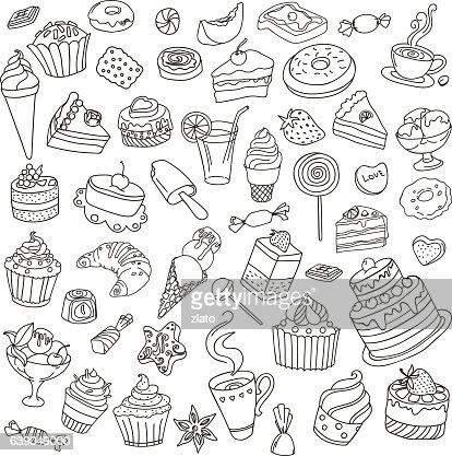 Vector set of different sweets : stock vector