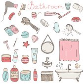 Vector set of drawn bathroom themed objects and appliences. Hand drawn doodle vector elements.