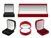 Vector set of empty red and black velvet opened jewelry boxes. Realistic illustration isolated on white background.