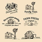 Vector retro set of farm fresh labels. Organic bio products badges collection. Eco food signs. Vintage hand sketched agricultural equipment icons.