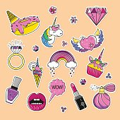 Donut and ice cream. Mouth, lipstick and speech bubble patch. Cupcake, diamond, wow stickers
