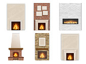 Vector set of fireplace on a white background with fire and firewood. Element for interior decor in different styles.