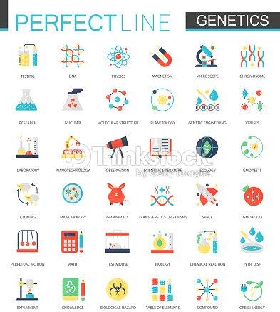 Vector set of flat Biochemistry genetics icons. : stock vector