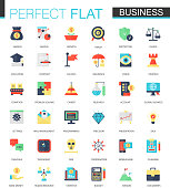 Vector set of flat Business icons isolated.