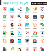 Vector set of flat Media advertising icons isolated