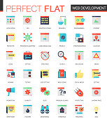 Vector set of flat Web development icons isolated