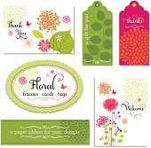 A collection floral frames, tags and cards and other elements are displayed in this image.  There is a total of six items in all.  There are two tags, one colored green and the other, pink.  The green