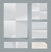 Vector set of folded papers on transparent background.