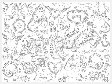 Vector Set Of Funny Hand Drawn Cartoon Dragons Playing Music And