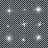 Vector set of glare lighting, twinkle lens flares. Transparent gradient stars, lightning flare. Magic, bright, natural effects. Abstract texture for your design and business.