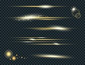 Vector set of glow lightning flare with sparkles isolated on black background. For illustration template art design. Transparent light effects