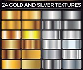 Vector Set of Gold and Silver Gradients, Gold and Silver Squares Collection, Textures Group Eps 10