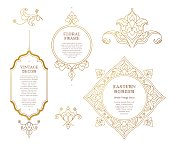 Vector set of line art frames and vignette for design template. Element in Eastern style. Golden outline floral borders. Mono line islamic decor for invitations, greeting cards, certificate, thank you