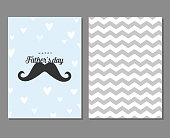Card with mustache, hearts and geometric gray pattern. Simple, stylish vintage design for men. Happy Father's Day. Love Father concept.
