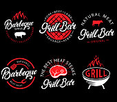 Vector set of grill bar and bbq labels in retro style. Vintage grill restaurant emblems, icon, stickers and design elements. Collection of barbecue signs, symbols and icons. Black and red color style.