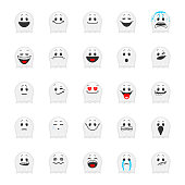 Collection of ghost's smiles in cartoon style isolated on white background