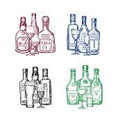 Vector set of hand drawn alcohol drink bottles and glasses piles illustration. Bottle drink alcohol sketch, beer and cognac
