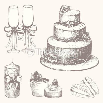 Vector Set Of Hand Drawn Wedding Cake Design Elements Stock Vector
