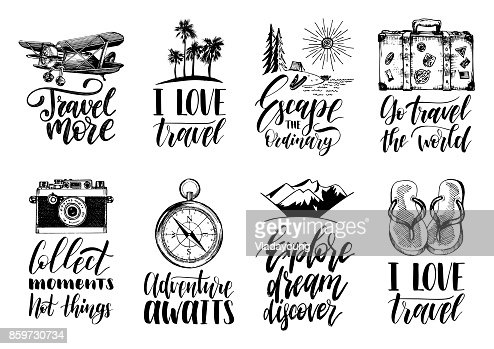 Vector set of hand lettering with phrases about traveling and sketches of touristic symbols. : Vector Art