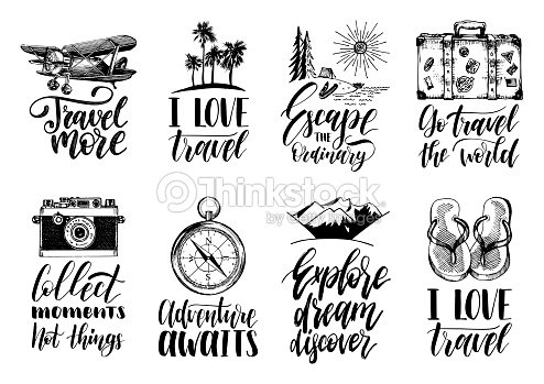 Vector set of hand lettering with phrases about traveling and sketches of touristic symbols. : arte vettoriale