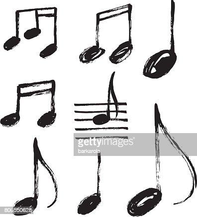 Vector Set Of Handdrawn Music Notes Vector Art Thinkstock