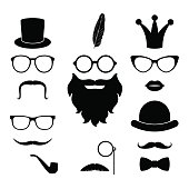 Vector set of hipster elements - mustache, glasses, beard, hat, lips, whisker, crown, feather, bow-tie, monocle. Best match accessories for photosessions and party