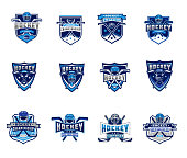 Vector set of ice hockey badges, stickers, emblems isolated on white