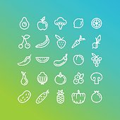 Vector set of icons and illustrations in trendy linear style - healty, organic and vegan food collection - fruits and vegetables on green background