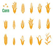 Vector set of icons and logos with corn on a white background. For your packaging design.