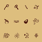 Vector Set of Icons in Cave Drawings Style. Tools and Nature Elements. Primitive Art Illustrations.