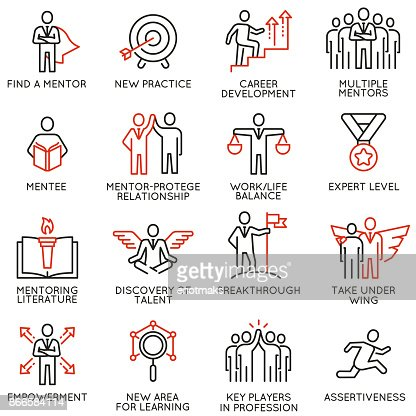 Vector set of icons related to business training, consulting service : stock vector