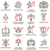Vector set of icons related to career progress, corporate management, business people training, tutorship and professional consulting service. Mono line pictograms and infographics design elements - p